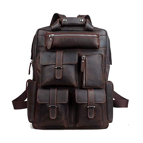ZGQA-GQA Vintage Durable Leather Backpack Men's Backpack Casual Laptop Backpack 3081 Brown...