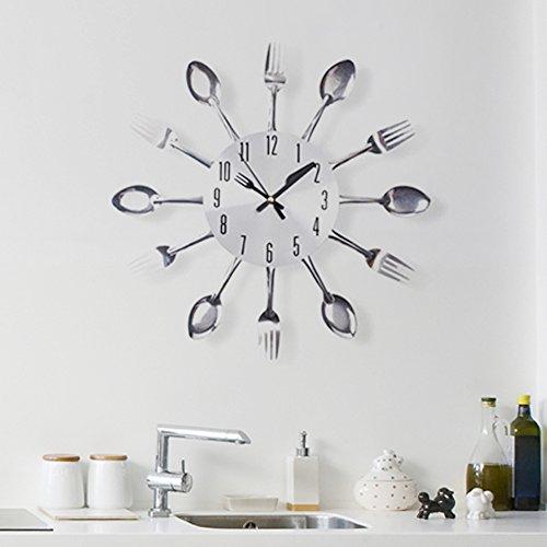 Walplus muurtattoo, motief lepels en vorken, metaal, zilverkleurig