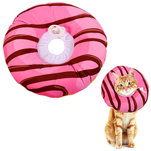 Xinzistar Halskrause Katzen Halsband Soft Weich Katze Schutzkragen Anti Biss Safety Einstellbarer Schützender Kragen für Haustiere Katzen Hunde Welpen Kätzchen (Erdbeer Donut, XS)