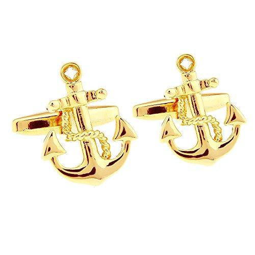 HONEY BEAR ancla Gemelos para hombres camisa, barco barco ,acero inoxidable, para día del padre marinero vela , Navidad boda regalo (Oro)