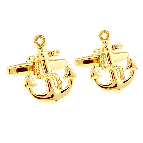 HONEY BEAR nautische Anker Anchors Manschettenknöpfe Cufflinks, Nautical Edelstah für das Geschäft Hochzeit Geschenkl,1 Paar (Gold 1)