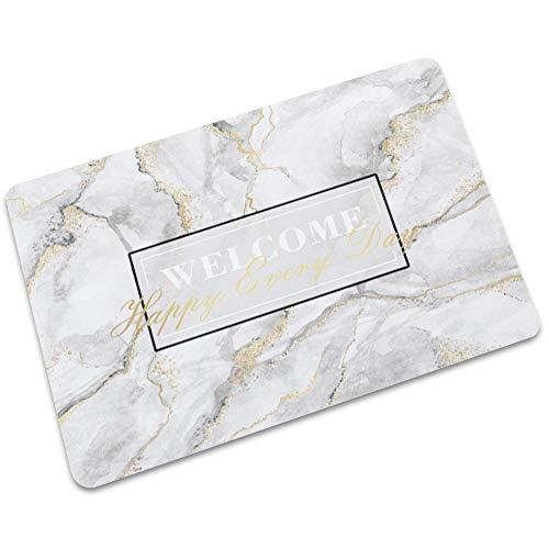 LJJJZS Felpudo de goma de bienvenida con textura de mármol antideslizante al aire libre alfombra de cocina DLSW-02