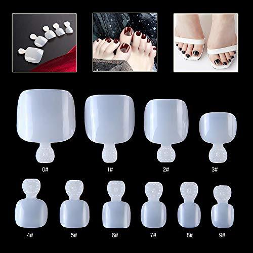 Mwoot 500 Piezas Naturals uñas de los pies, francesa falso acrílico Falsa de Las Uñas de Los Pies, 10 Tamaños Fake Toenail Tips Set
