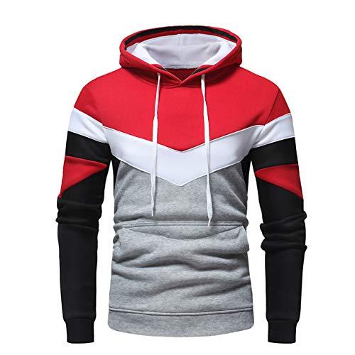 Legogo Herren Herbst und Winter Kapuzen Freizeit und Mode Hooded Sweatershirt(S,rot)