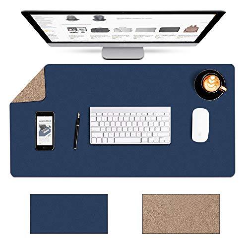 AtailorBird Schreibtischunterlage Kork 80x40cm Umweltfreundliche Naturkork und PU Leder Doppelseitige Wasserdicht Multifunktional Office Mauspad Zweiseitig Nutzbar Schreibtischschutz für Büro Blau