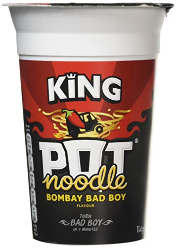 Pot Noodle Bombay Bad Boy Flavour, King Pot Size, Quick Filling Food, Tasty And Time Saving Snack, Suitable For Vegeterians, Large Pack Perfect for Families and Teenagers (12 x 114g Pots)