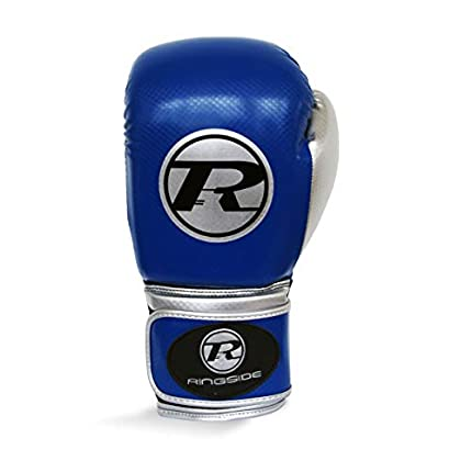 Ringside - Guantes de Boxeo (Piel sintética), Color Azul Marino, Negro y Plateado