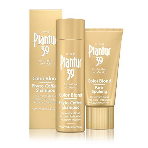 Plantur 39 Color Blond Phyto-Coffein-Shampoo, 250 ml + Farb-Spülung, 150 ml - Für warmes Blond bei jedem Waschen | Gegen menopausalen Haarausfall