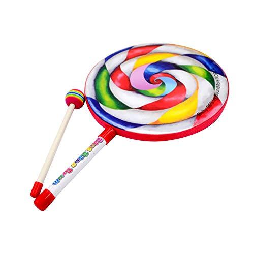 JKMQA dx Juguetes Lolly Drum Percussion Rainbow Musical Stick Set educativo temprano ayuda de enseñanza dar a los niños el mejor regalo de juguete de iluminación (color: A)