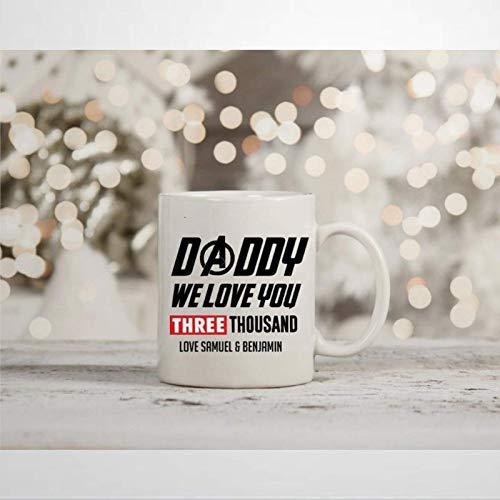 N\A Taza de café Marvel Endgame Daddy We I Love You 3000 Taza Inspirada en la Novedad Tony Stark Iron Man Taza de té de cerámica Regalo de cumpleaños de Navidad para Hombres y Mujeres