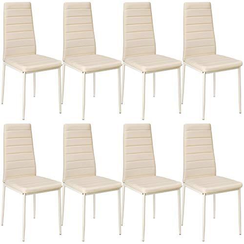 tectake 800881 8er Set Esszimmerstuhl, Kunstleder Stuhl mit hoher Rückenlehne, bis 150 kg belastbar, 41 x 45 x 98,5 cm (8X Beige | Nr. 404122)