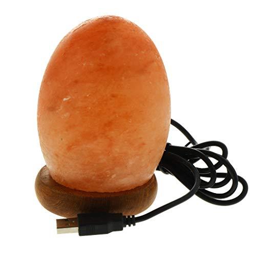 Baoblaze Lámpara de Sal del Himalaya Luz de Noche de Roca de Cristal Natural Luz de Carga USB Lmap