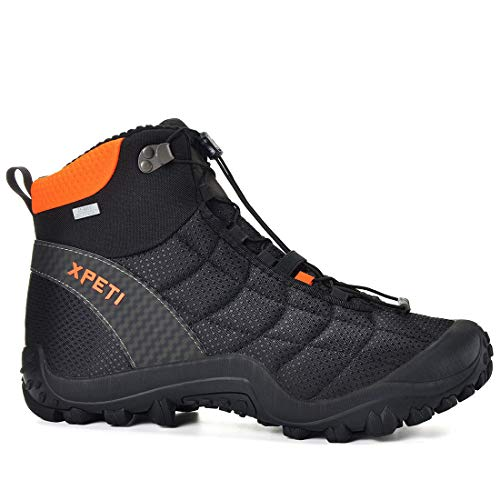 XPETI Men's Crest Thermo Waterproof Hiking Trekking Outdoor Boot (10, Black/Orange)