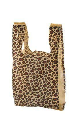"""100 Leopard Print Disposable Plastic T-Shirt Shopping Gift Bags with Handles by CYP - Small - 8"""" x 5"""" x 16"""""""