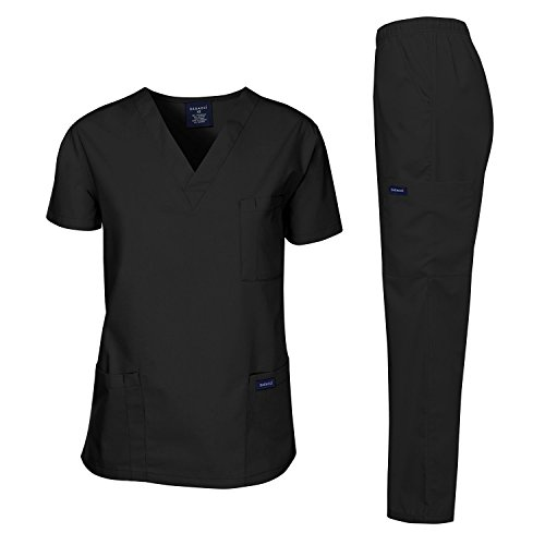 Dagacci Scrubs Medical Uniform Unisex Scrubs Set Medical Scrubs Top and Pants (X-Large, Black)