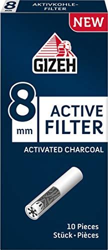 GIZEH Active Filter, 8 mm Durchmesser, handliches 10er-Päckchen 5 Packungen (50 Filter)