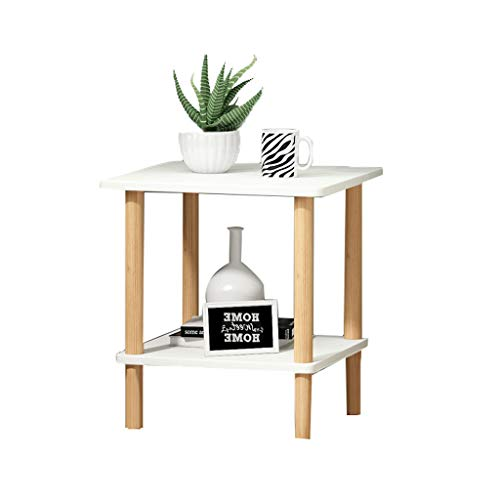 Table d'appoint Table basse double en bois massif petit salon casier simple mini rack de stockage multifonction petite table (Color : White)