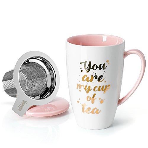 Sweese 201.209 Teetasse mit Deckel und Sieb, Becher aus Porzellan für Losen Tee Oder Beutel, You Are My Cup of Tea, Rosa, 400 ml