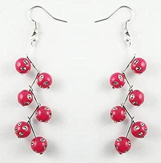 1set Rose Red round Acrylic Beads elegant cute dangle earrings new arrive