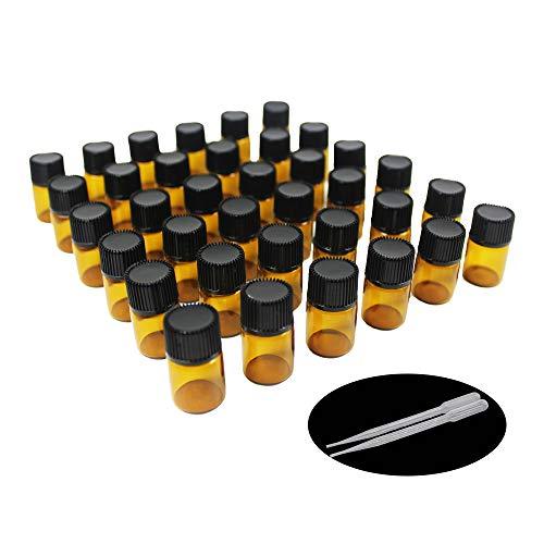 Yizhao Ambar Botellas de Aceite esencial de Vidrio Vacías 2ml,con Reductor de Orificio y Tapa,Para Aceites Esenciales, Aromaterapia,Perfumes,Masajes,Laboratorio de Química – 36 Pcs