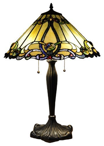 """Chloe Lighting CH18A518-TL2 Tiffany-Style Victorian 2-Light Table Lamp with Shade, 26 x 18 x 18"""", Bronze"""