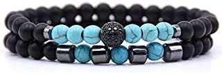BAOKUANH Bracelet 2Pcs/Set Bracelet 6Mm Black Natural Stone Beads Beaded Bracelet For Men Women Jewelry Bracelets