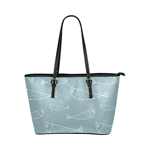 Aquarell Fisch gemalt große Leder tragbare Top Griff Hand Totes Taschen kausalen Handtaschen Reißverschluss Schulter Einkaufstasche Geldbörse Organizer für Dame Girls Womens
