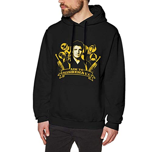 Herren Kapuzenpullover, Hooded Sweat, Men's Hooded Sweatshirt I Aim to Misbehave Firefly Fashion Hoodie Pullover Black Navy