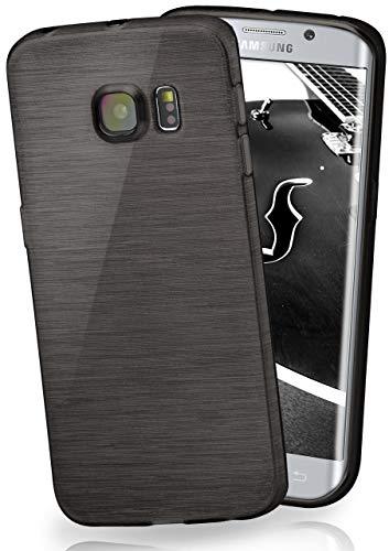 moex Stylische Brushed Aluminium-Optik und starker Grip   Ultra dünne Silikonhülle passend für Samsung Galaxy S6 Edge Plus in Schwarz