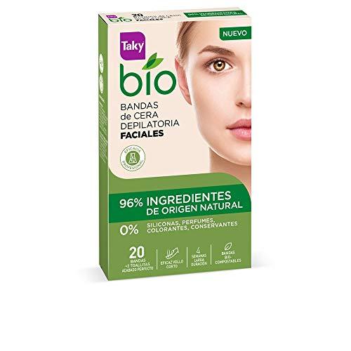 Taky Bio Natural 0% Bandas De Cera Faciales Depilatorias 20 Uds. - 5 ml, Estándar (120-0715)