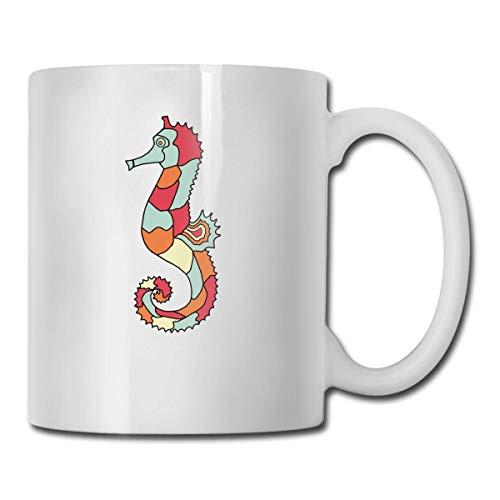Mejor idea de regalo de caballito de mar, divertida taza de café blanca de cerámica taza de té de la novedad
