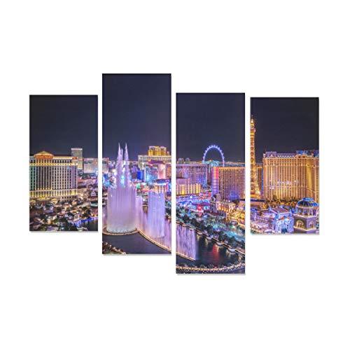 WDDHOME 4 Stücke Badezimmer Wandfarbe Las Vegas Avenue Nevada Usa Nacht Die Wandmalerei Kein Rahmen Wohnzimmer Büro Hotel Wohnkultur Geschenk