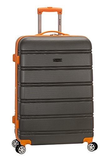 Rockland Melbourne Hardside Expandable Spinner Wheel Luggage, Charcoal, Checked-Large 28-Inch