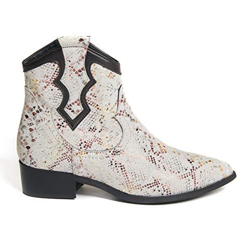 Marsida Caroline Leren laarzen voor dames, in de stijl van de Texan-stijl, kleur ijs en koper met hak, vierkant, met ritssluiting binnenshuis, gemaakt in Italië