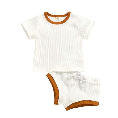Neugeborenes Baby-Unisex Schlafsack Strampler - Neugeborenes Baby Baby Boy Solid T-Shirt Tops Shorts Hosen Casual Outfits Set - ODRD Mädchen Jungen Body Babyschlafsack Kleinkind Sommer