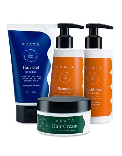 Glamorous Hub Arata Natural Oil Control Lo esencial para el cuidado del cabello para mujeres y hombres con champú limpiador, totalmente natural, vegano y sin crueldad cabello de plantas, no tóxicos