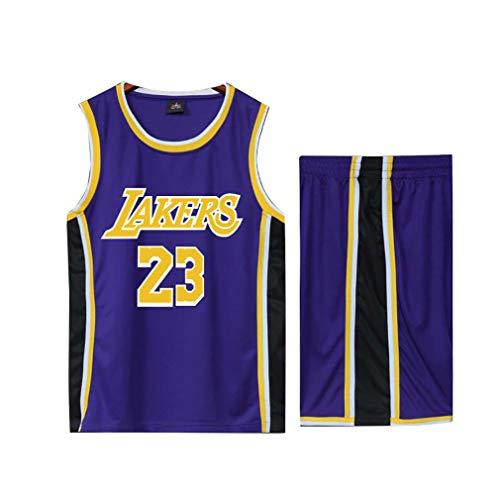 Basketball Trikot für Lebron Raymone James No.23 Lakers Fans Basketball ärmellose Anzug Kinder Erwachsene schwarz lila Sportswear T-Shirt Weste + Shorts jugendlich weiß gelb Sweatshirt-blue-3XL