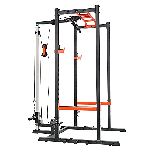 Sunny Health & Fitness Power Zone Strength Rack Power Cage with LAT Pull Down Attachment