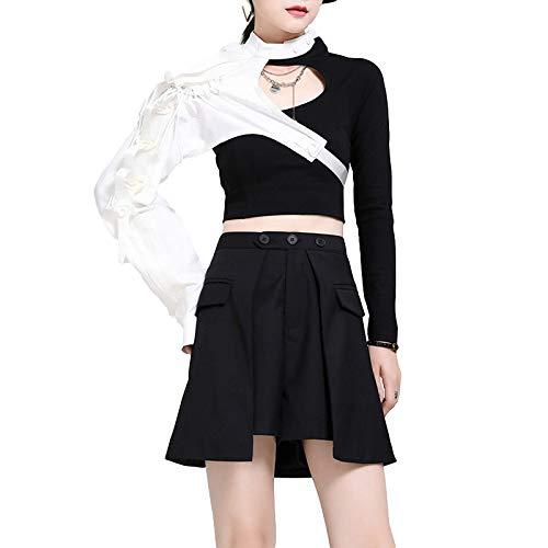 Moda para Mujer Cintura elástica Casual Commuter Trabajo de Oficina Básico Ropa de Calle Suelta Pantalones Cortos básicos Finos de Cintura Alta de Todo fósforo L