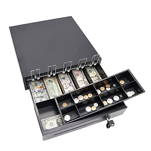 HRTX Cajón Caja Registrador POS, Corredera Rodamiento Bolas, con Candado Portátil Almacenamiento Dinero 8 Billetes / 4 Monedas Bandeja Extraíble, Color Negro