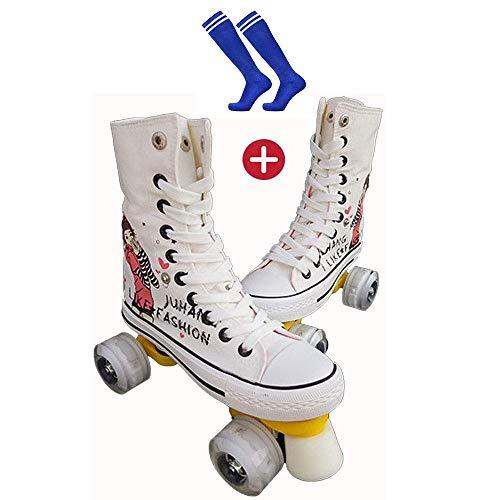 BHDYHM Kinder Studenten Erwachsene Rollschuhlaufen Rollschuhe Outdoor Sport Skaten Reisen Beste Wahl, Rookie Rollerskates Canvas High Skates,White-37
