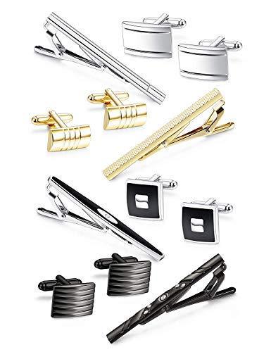Finrezio Krawattenklammer und Manschettenknopf Set für Herren Krawatte Schwarz Gold Silber Geschenk Hochzeit