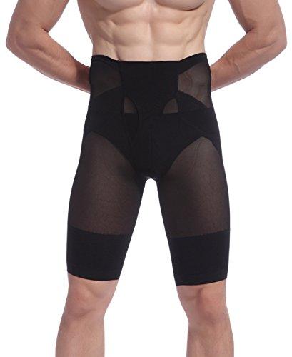 Aieoe Calzoncillos Moldeador de Abdomen para Hombre Pantalones Interior Shapewear Translúcido Transpirable con Faja Adelgazante Cintura Alta - para Hombre de 40-95KG - Negro Blanco