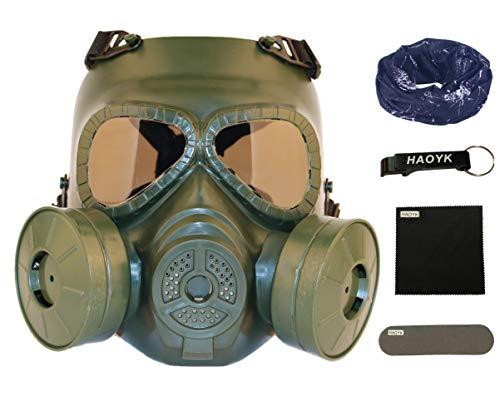 haoYK taktische Gas-Gesichtsmasken-Attrappe M04 mit getönten Gläsern, Anti-Nebel, mit doppeltem Ventilator, Schutzzubehör für Airsoft und Paintball, Od Green