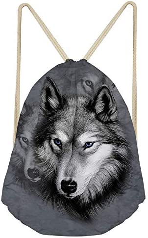 ZFRXIGN Gray Wolf Drawstring Backpack Sport Bags for Teens Boys String Bag Sack Cinch Tote Gym product image