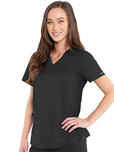 Med Couture Touch Women's V-Neck Shirttail Top, Black, Large