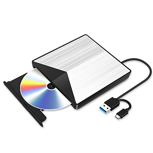 Externe Blu Ray CD DVD Laufwerk 3D Type c USB 3.0 Blueray CD DVD RW Rom Player Brenner Tragbar für PC MacBook iMac Mac OS Windows 7/8/10/Vista/XP (Grey)