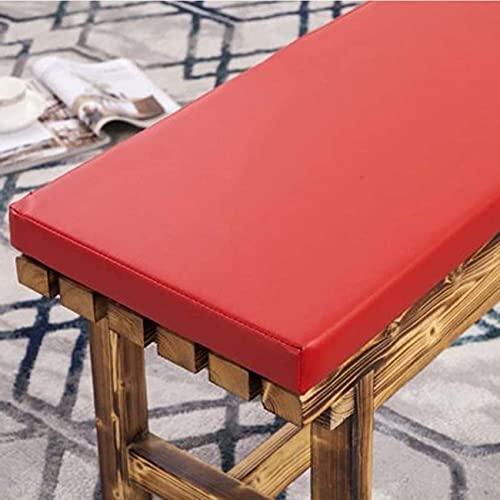 Waigg Kii Cojín de cuero para banco al aire libre, 2/3 plazas, impermeable, cojín de banco de jardín, cojín largo para silla de patio, comedor (45 × 45 × 3 cm, rojo)