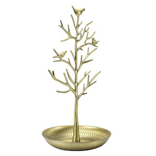 Expositor para joyas con diseño de árbol| Expositor de colgantes | Organizador de joyas| Fijaciones incluidas | M&W (Dorado)