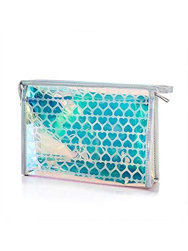 Women Makeup Bag for Brush Lady Makeup Mini Jelly Bag Cute Cosmetic Bag Transparent PVC Travel Storage Bag Waterproof A 22*5.5*15cm